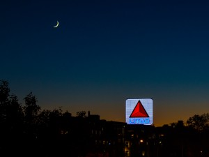Moon over Citgo sign in Boston