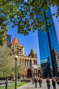 Trinity Church and John Hancock Tower in Copley square in Boston